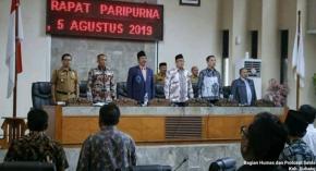 Bupati Subang H. Ruhimat.,S.Pd.,M.Si Dan Wabup Agus Masykur Rosyadi S.Si., MM Hadiri Rapat Paripurna